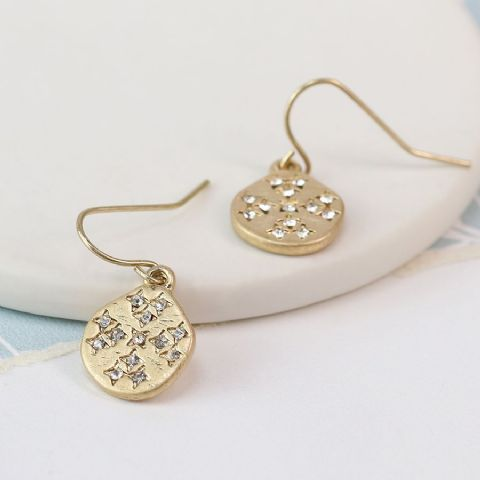 CRYSTAL GOLD DISC EARRINGS
